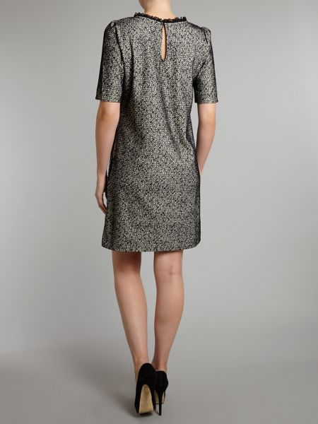 Love Moschino Short sleeve textured dress with lace neck