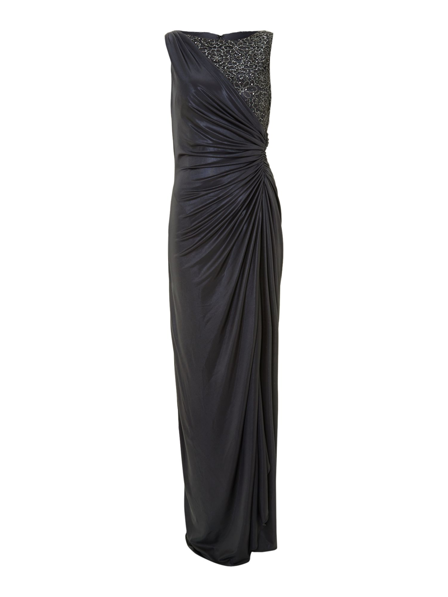 Side gathered lace jersey gown