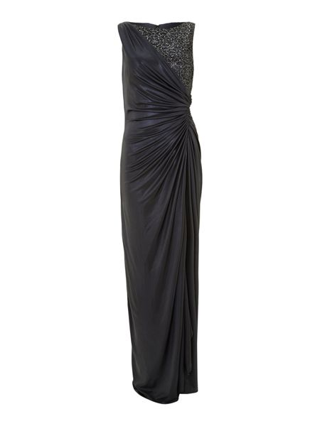 Adrianna Papell Side gathered lace jersey gown