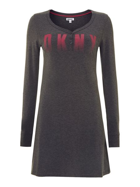 DKNY Charcoal heather long sleeve logo sleepshirt