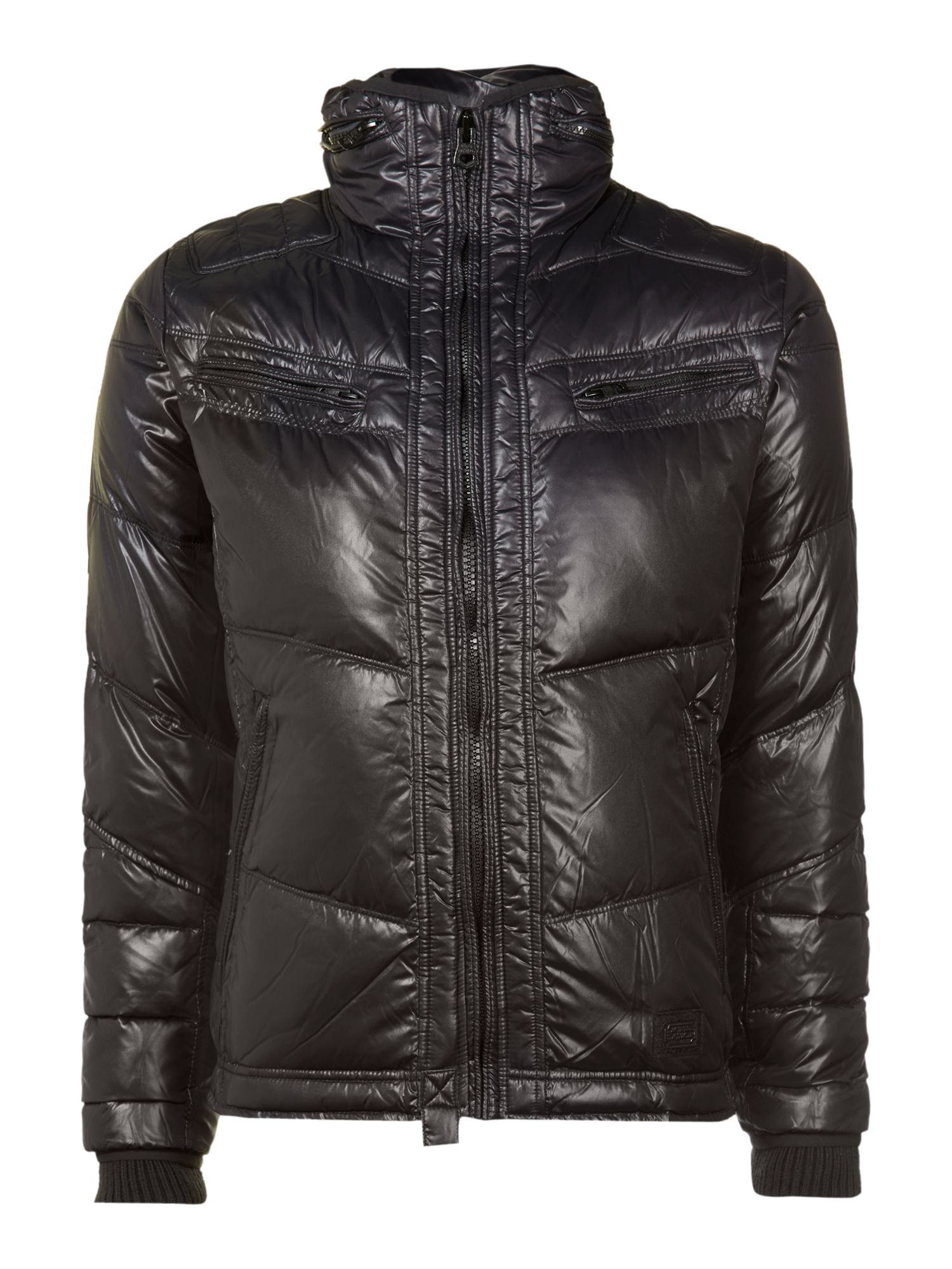 Black quilted down jacket