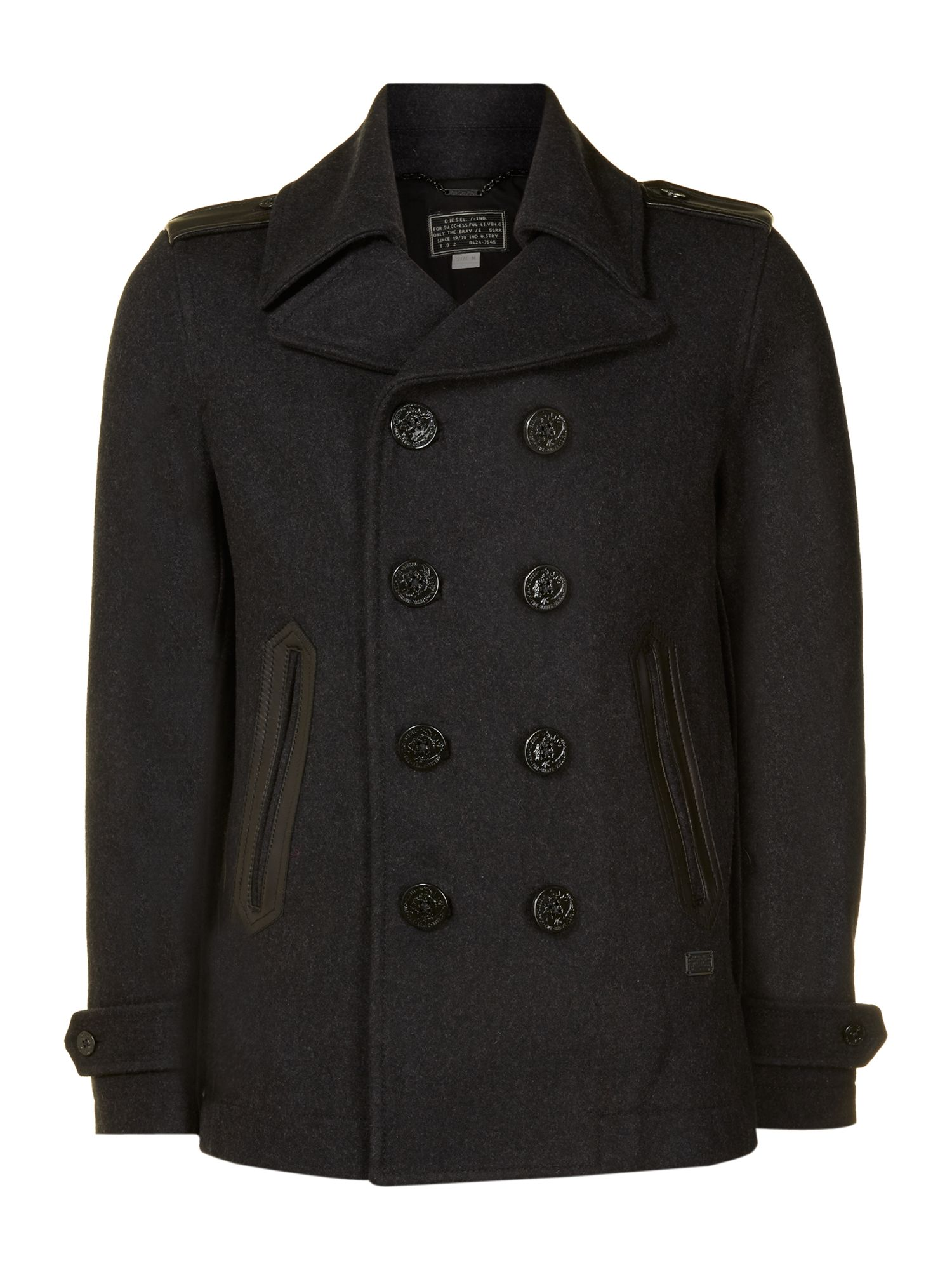 Plain Long Sleeve Peacoat