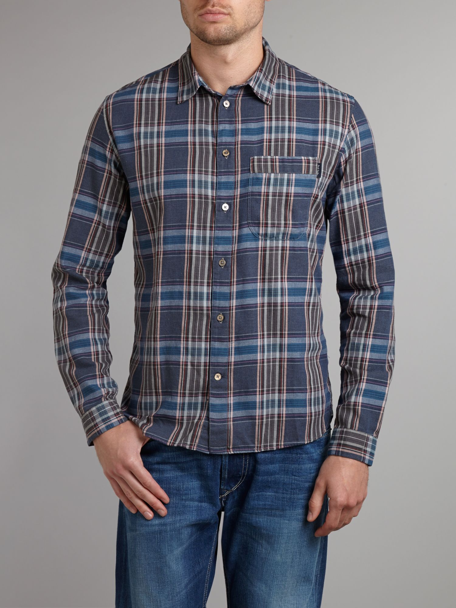 Long sleeve denim check shirt