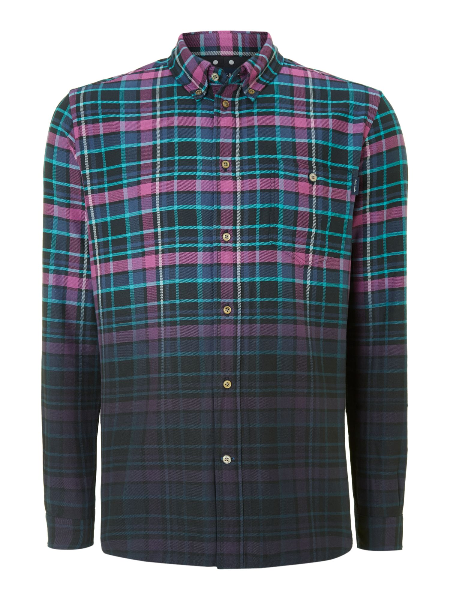 Long sleeve heavy twill check shirt
