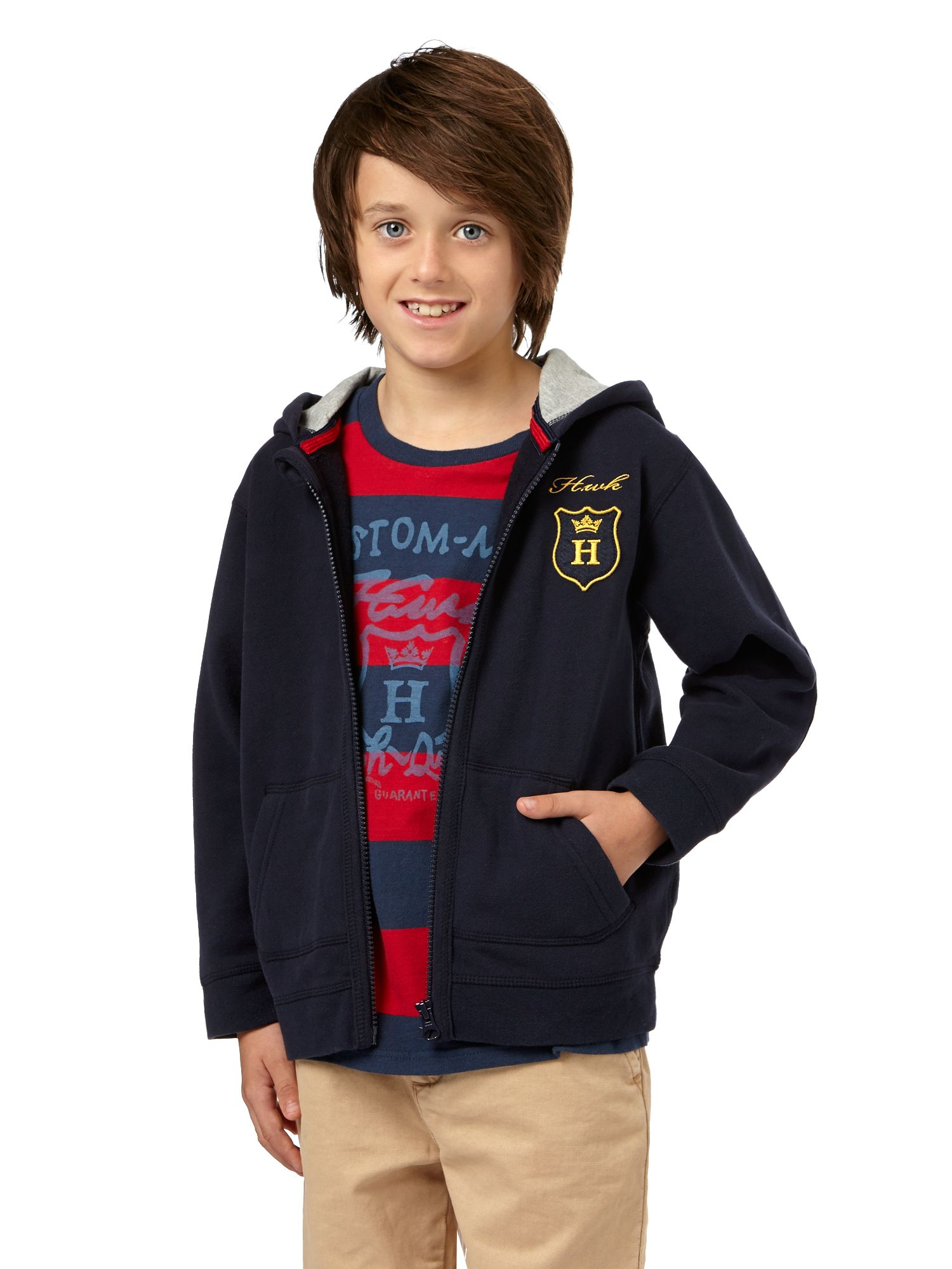 Boys zip thru hooded sweat