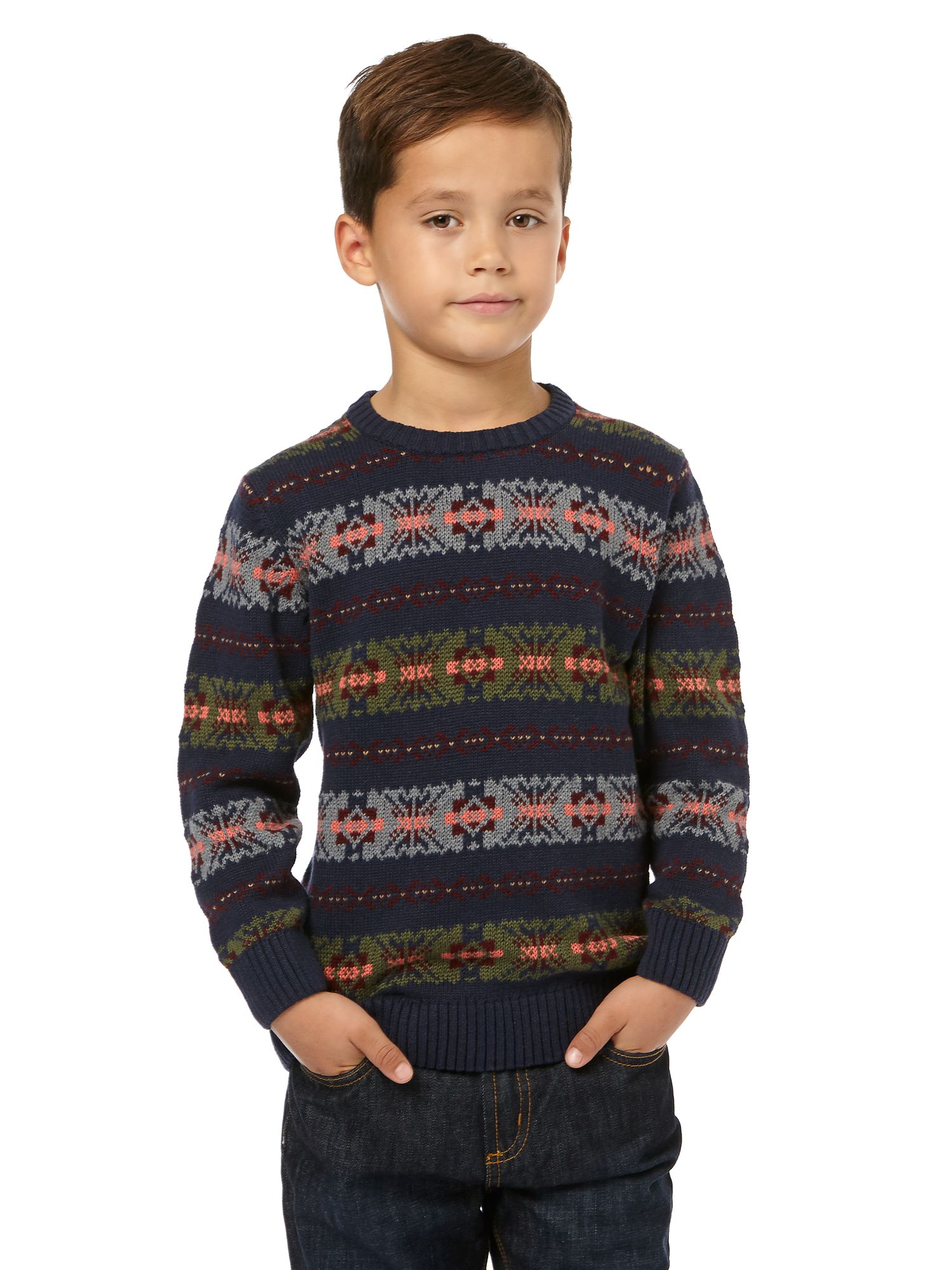 Boy`s Fair Isle crew neck jumper