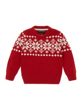 Howick Junior Boy's Red Snowflake Jumper