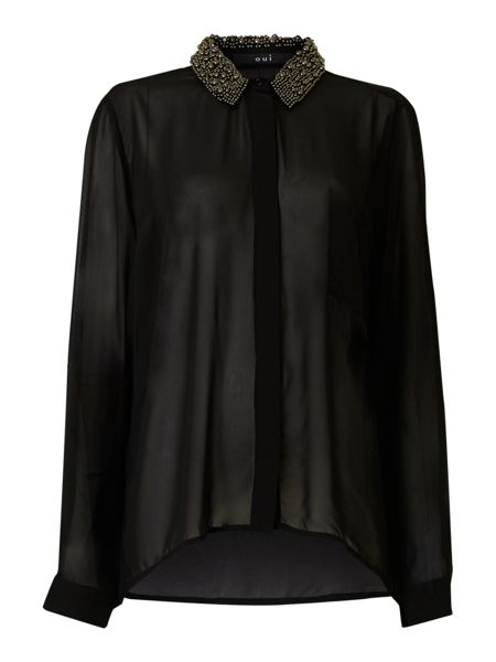 Oui Sheer blouse with embellished collar