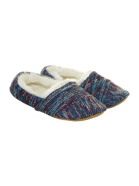Urban Knit Knitted slipper with faux fur