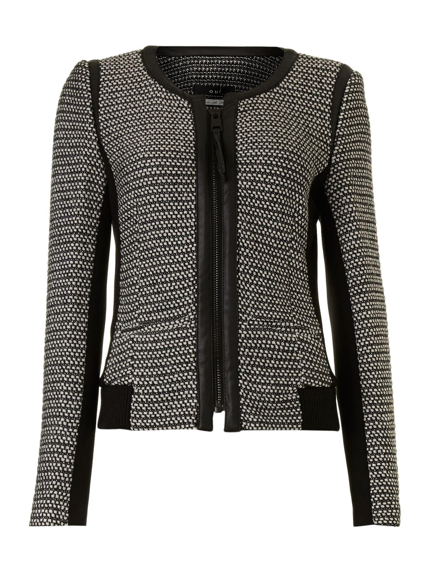 Printed jacket with leather detail