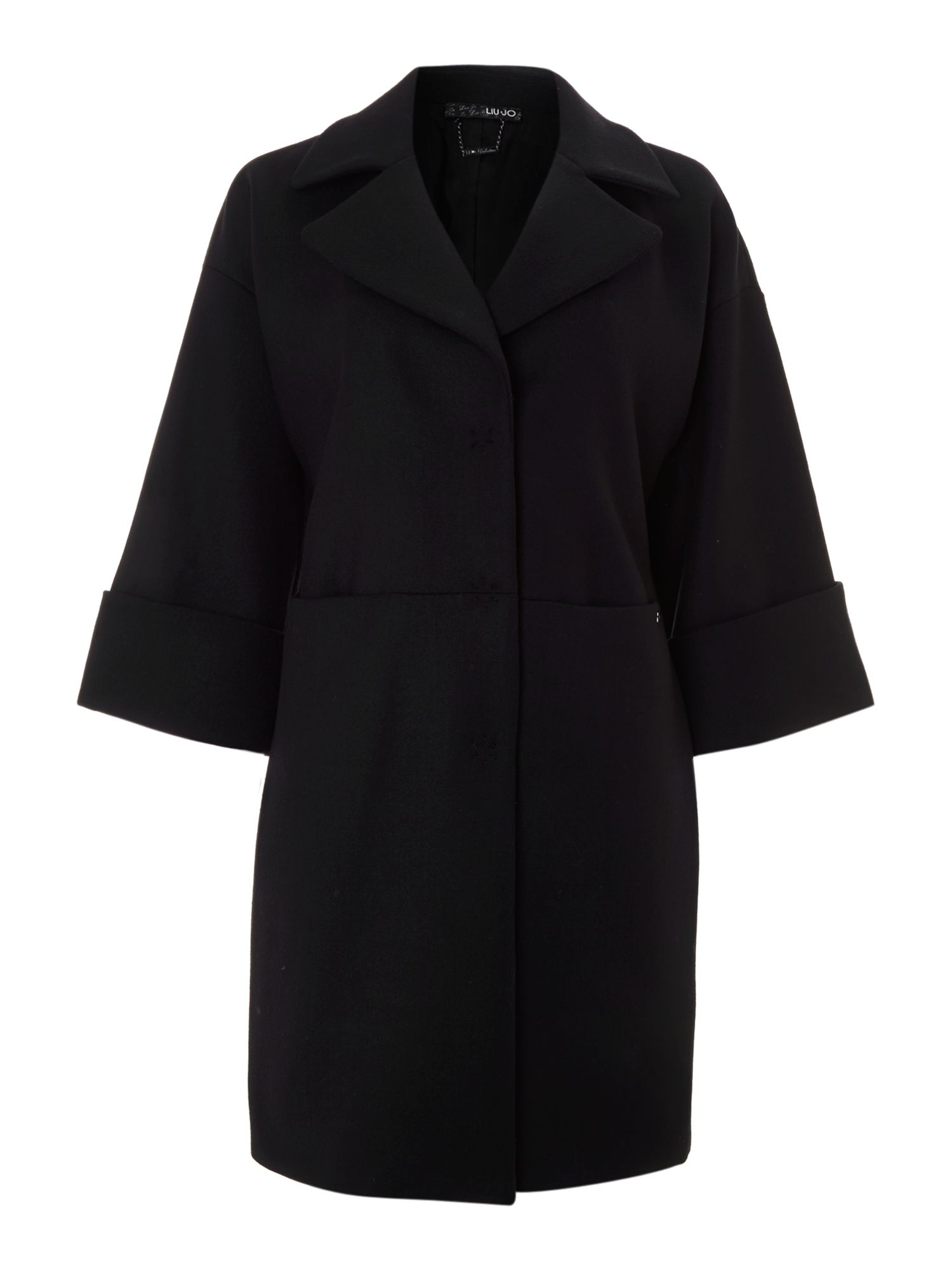 Long sleeve concealed button panel coat