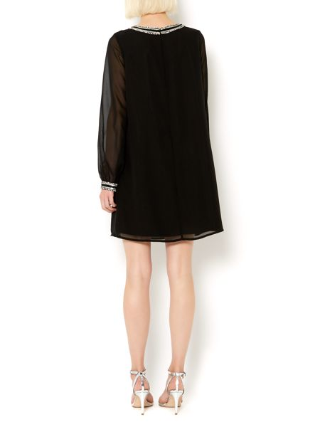 Therapy Embellished collar and cuff shift tunic dress