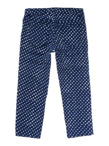 Girl`s pattern 5-pocket denim capris