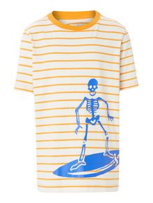 Boy`s stripe skeleton graphic t-shirt