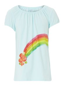 Girl`s shirred neck rainbow graphic t-shirt