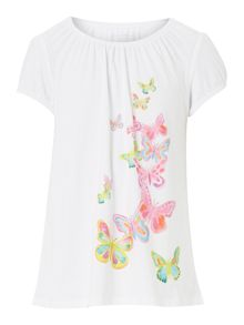Girl`s shirred neck butterfly graphic t-shirt