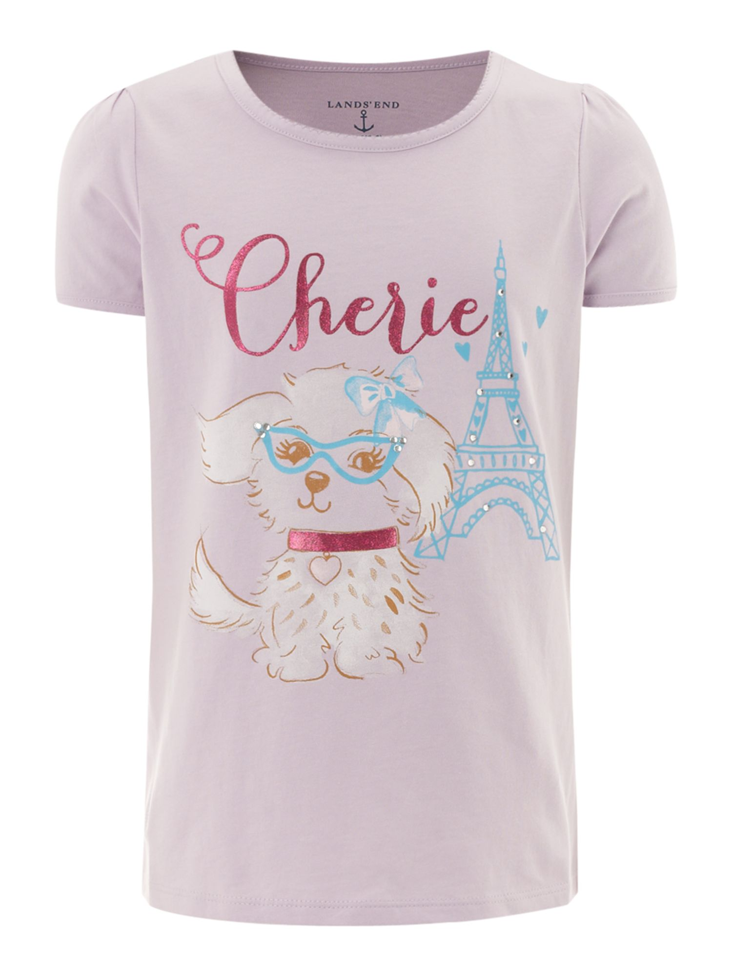 Girl`s picot trim fluffy dog graphic t-shirt