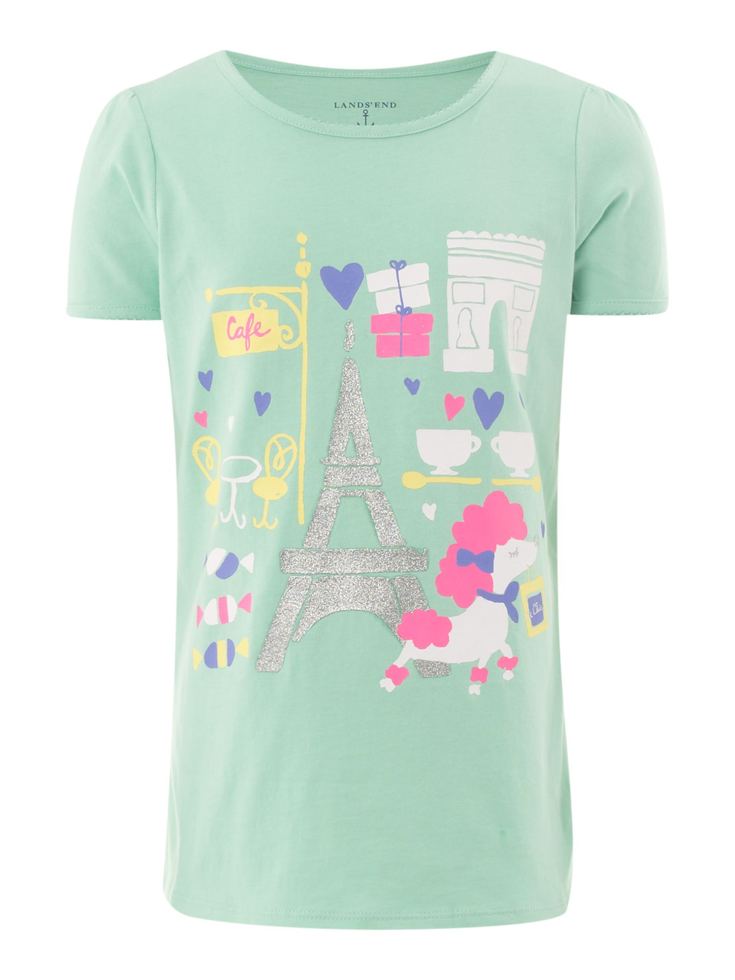 Girl`s picot trim paris poodle graphic t-shirt