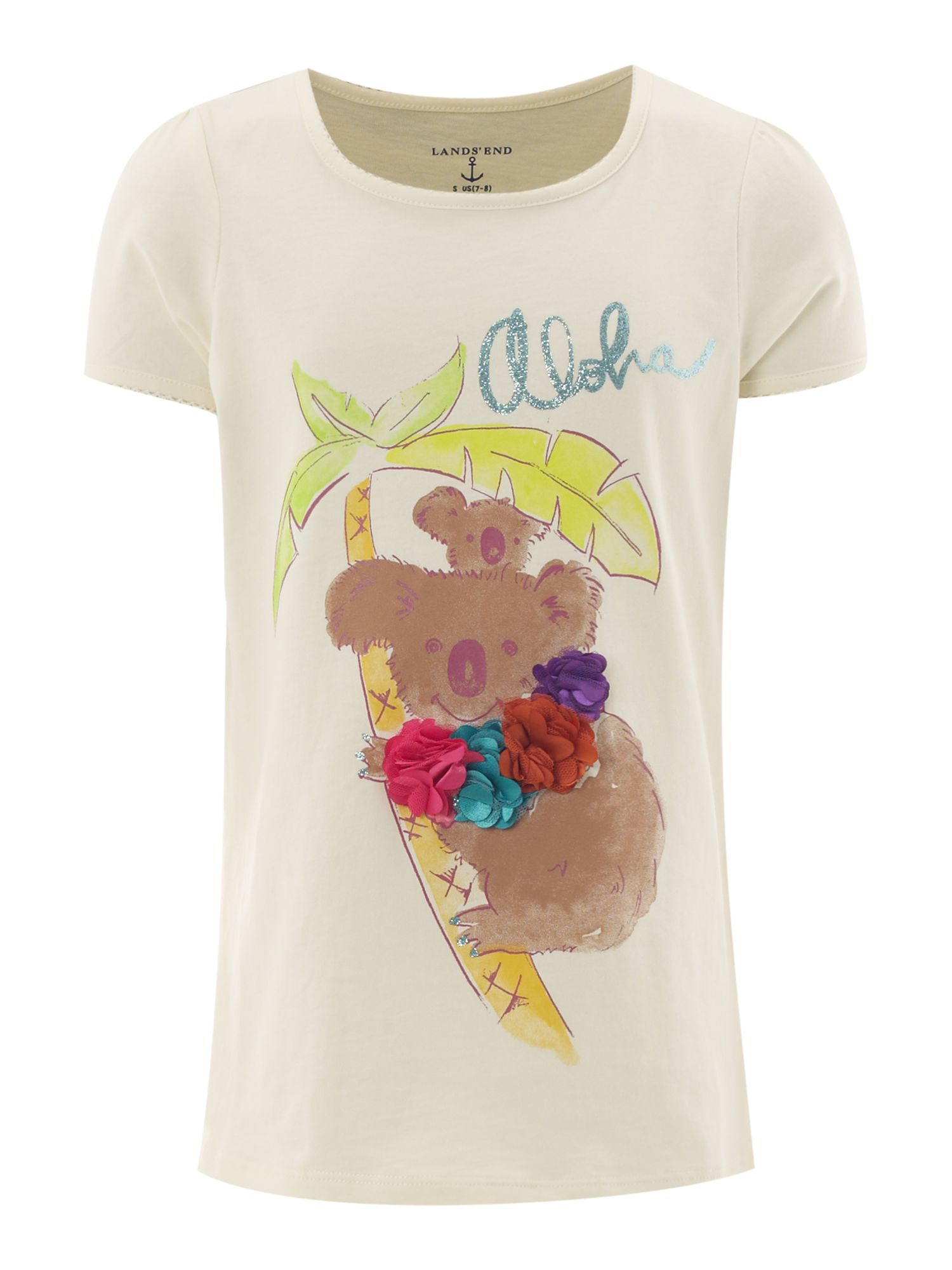 Girl`s picot trim koala graphic t-shirt