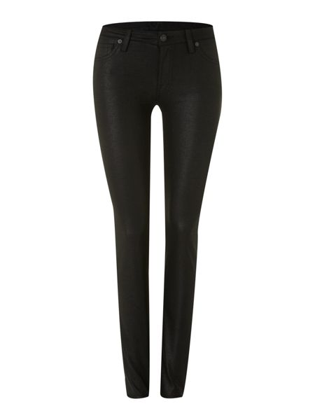 7 For All Mankind The Skinny coated double knit jeans in Black