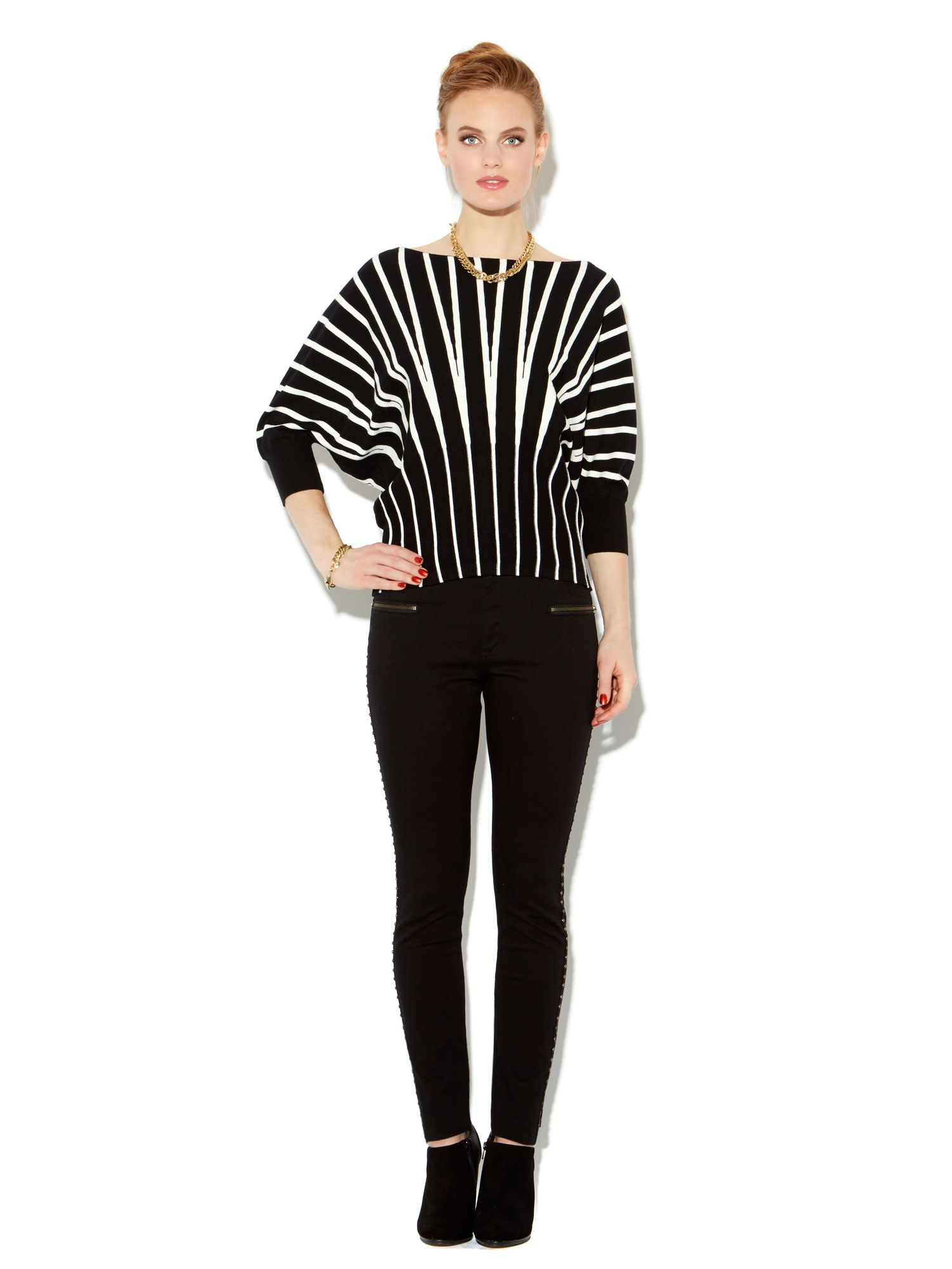 Stripe batwing knit