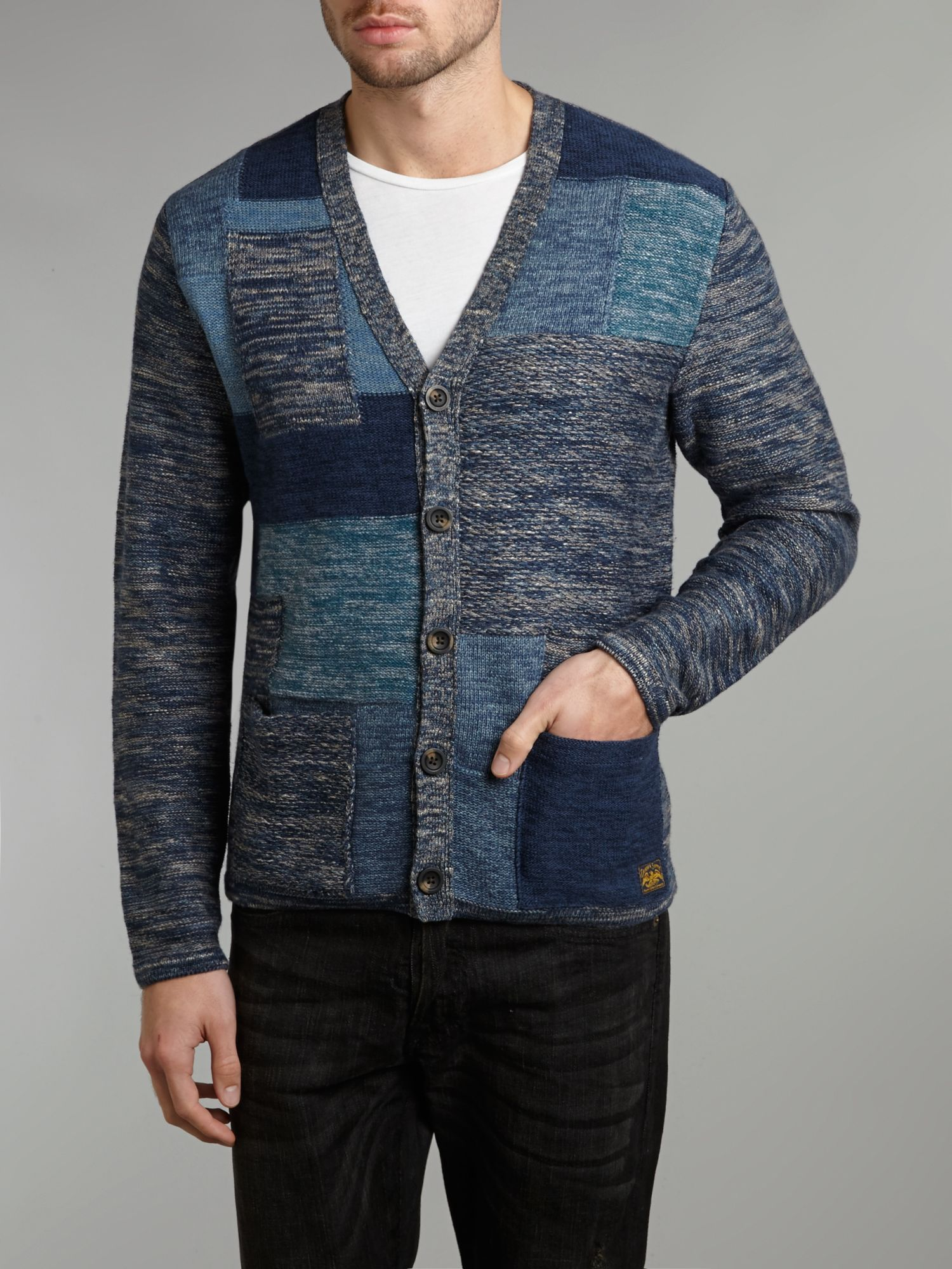 Knitted patchwork cardigan
