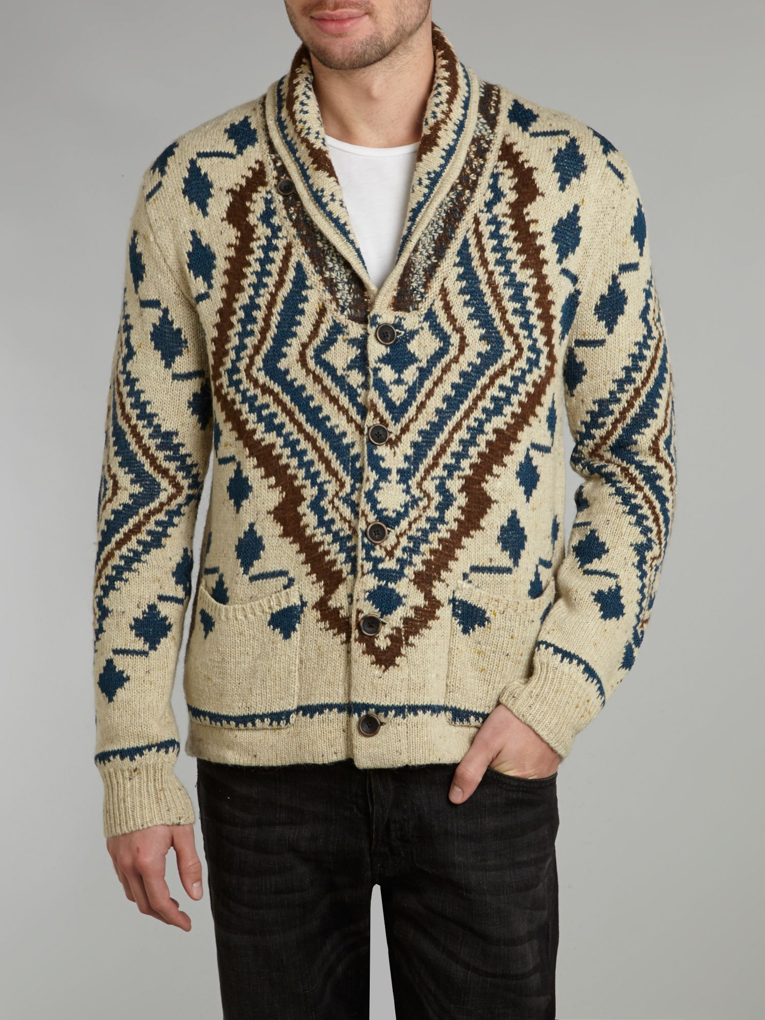 Knitted pattern shawl cardigan
