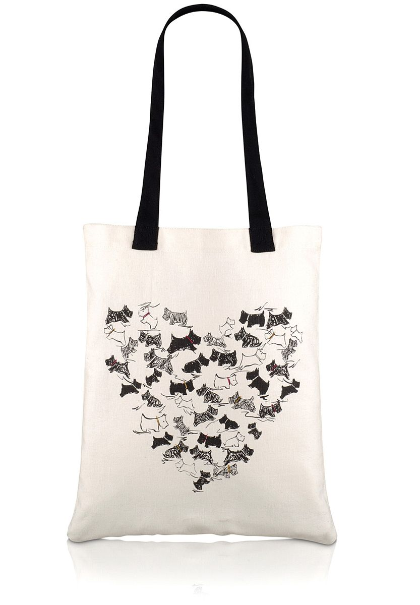 Heart doddle dog canvas tote bag