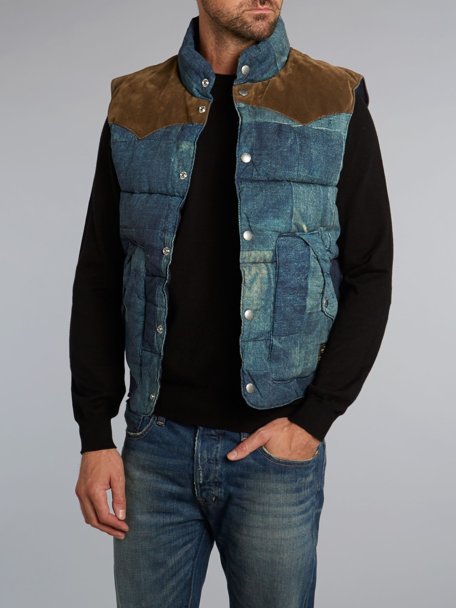 Denim patchwork gilet