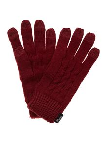 Cable knit five finger touch screen glove