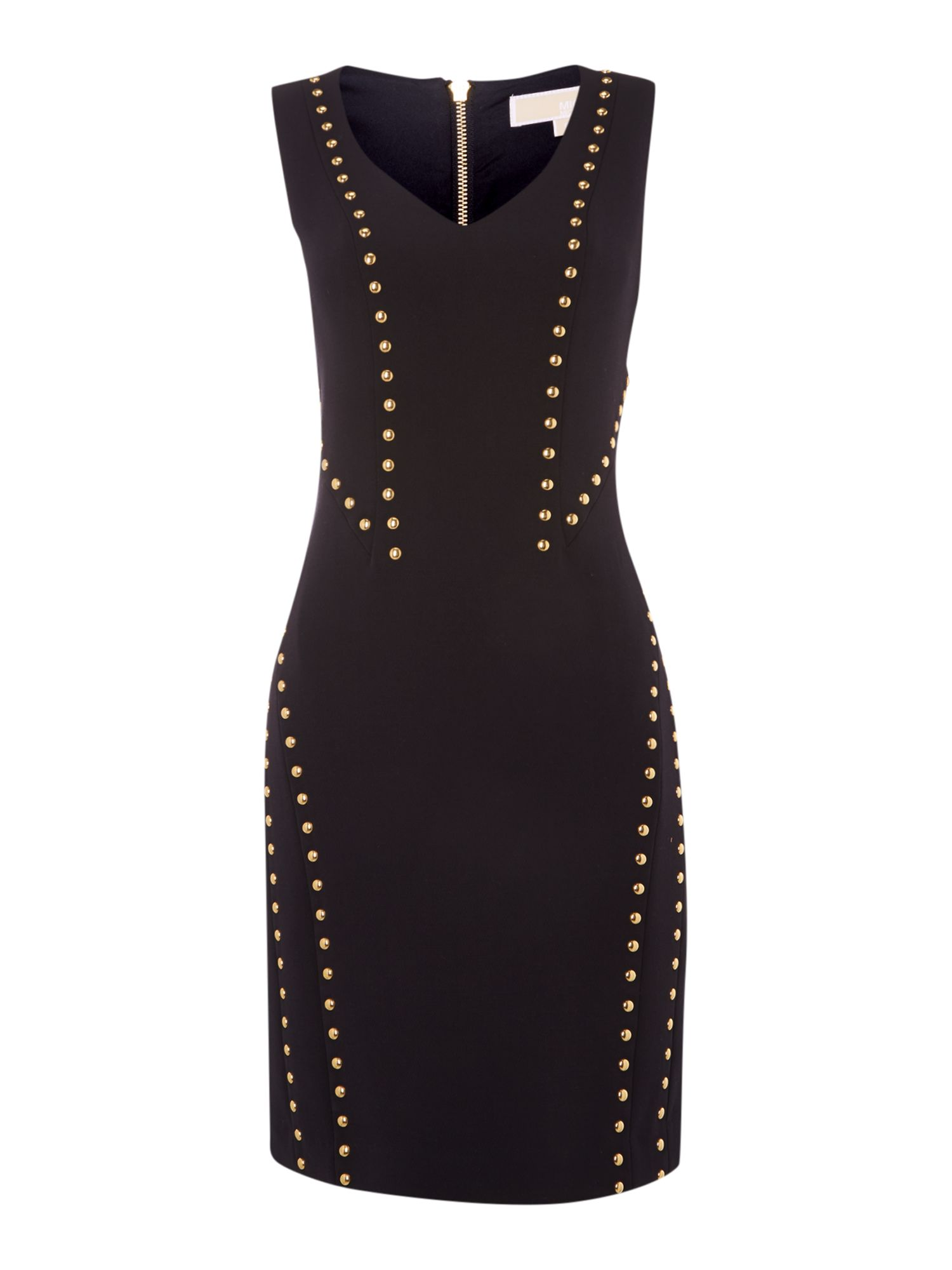 V neck studded detail dress