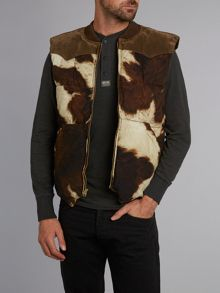 Cow print padded gilet