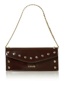 Denise red patent mini studded shoulder bag