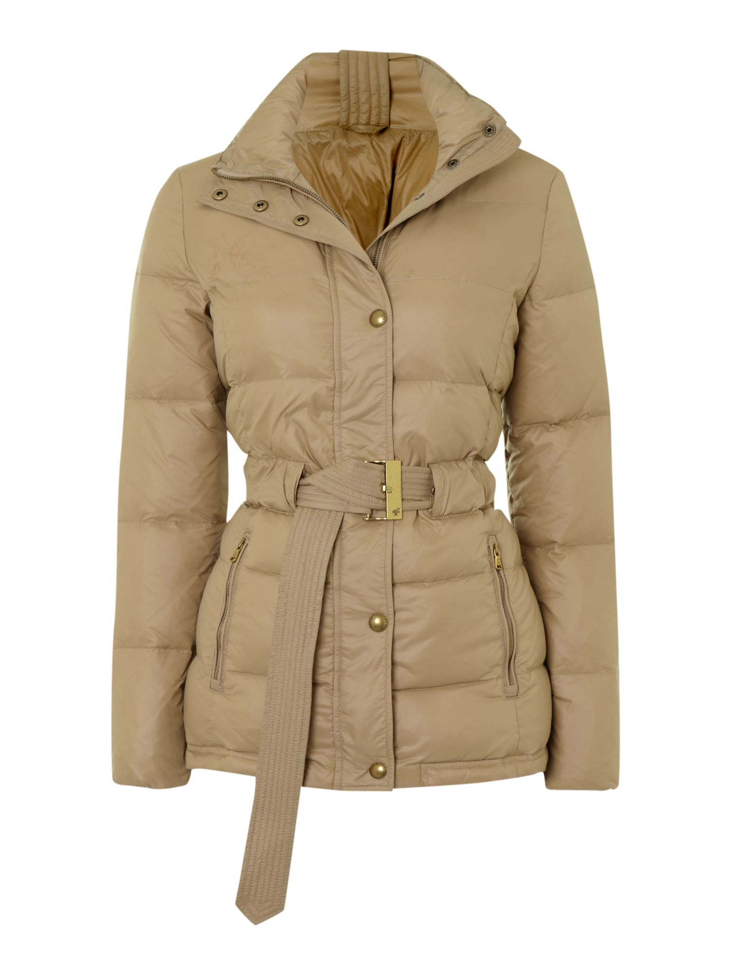 Short padded coat with belt