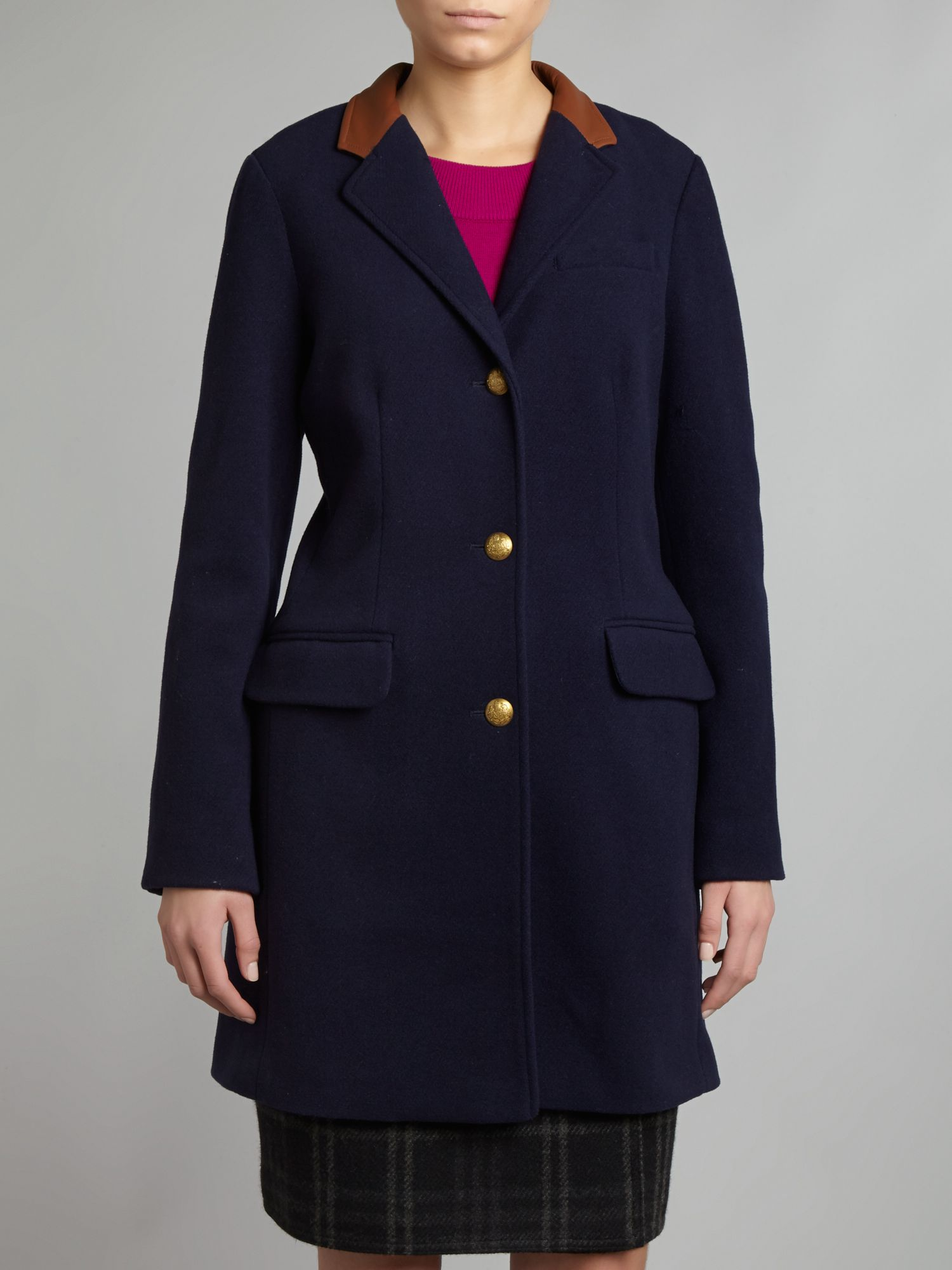 Long coat with leather collar