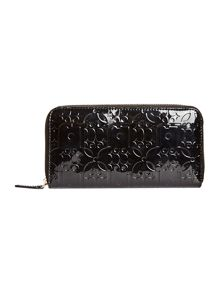 Melanie black large zip around purse