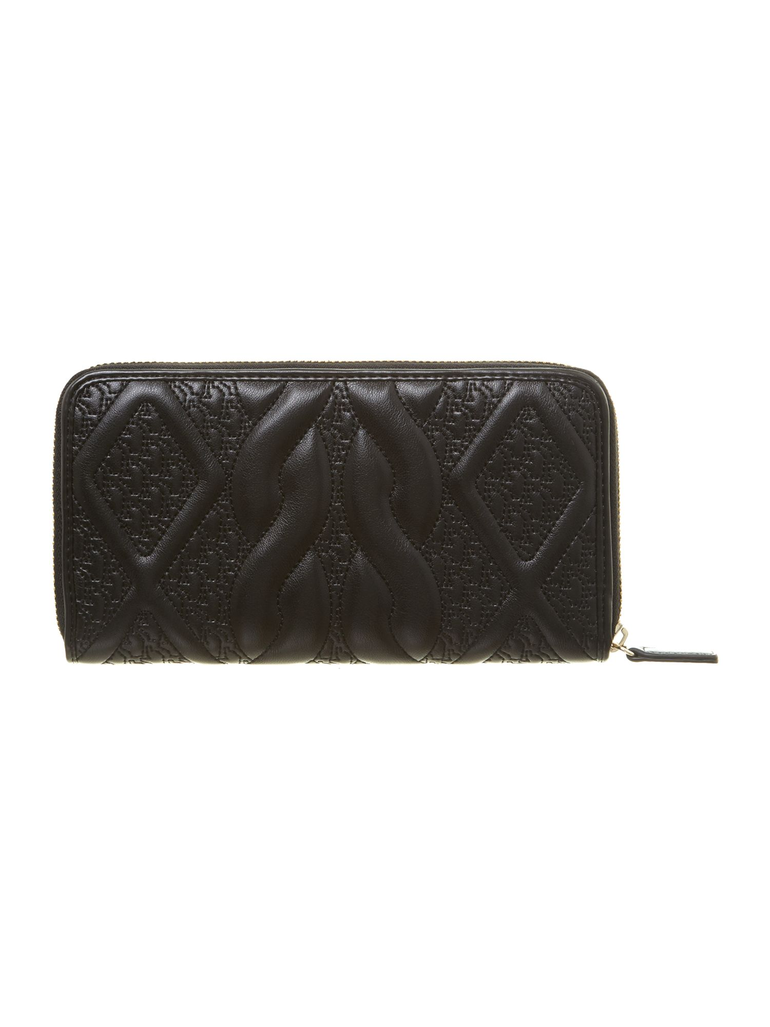 Leonie black large zip around purse