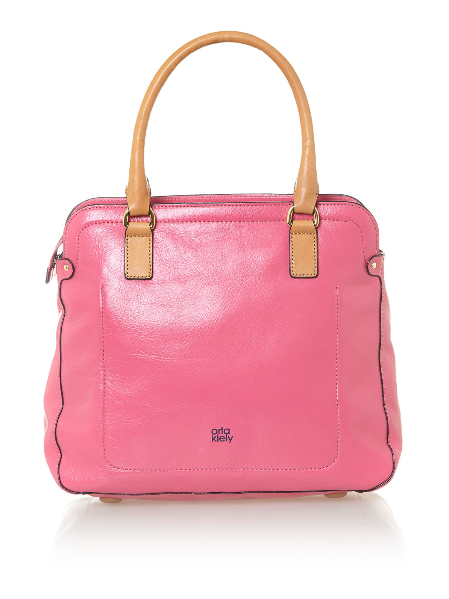 Stem leather pink bowling bag