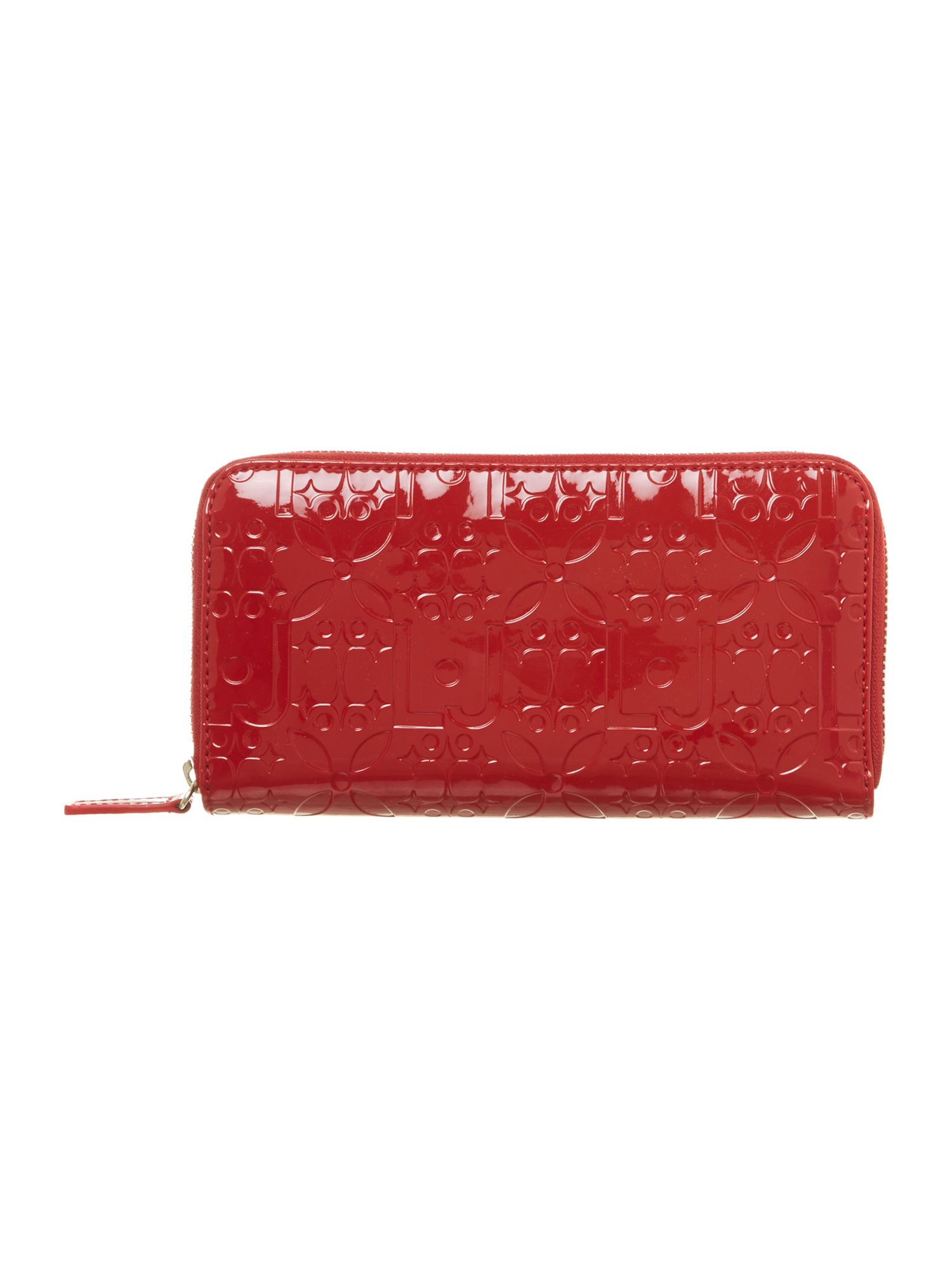 Melanie red large zip around purse