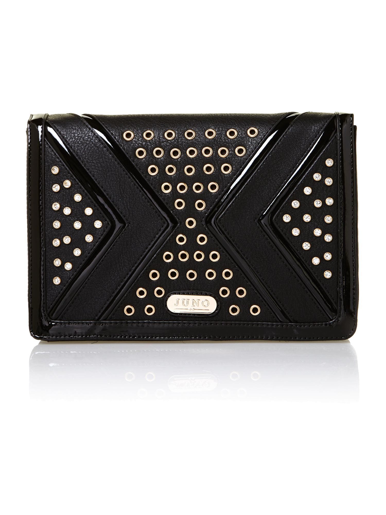 Black studded large clutch bag