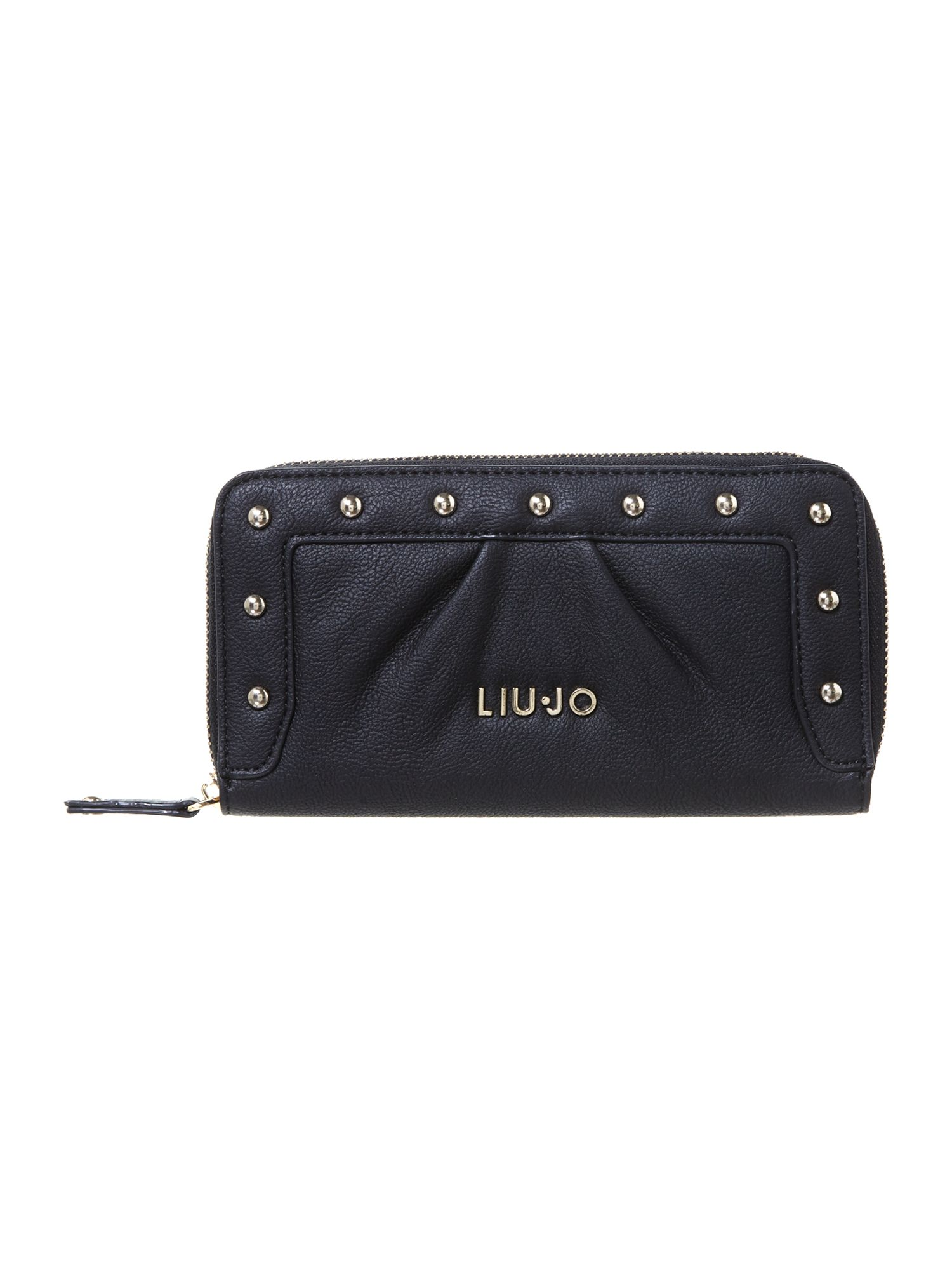Sophia black large zip around purse