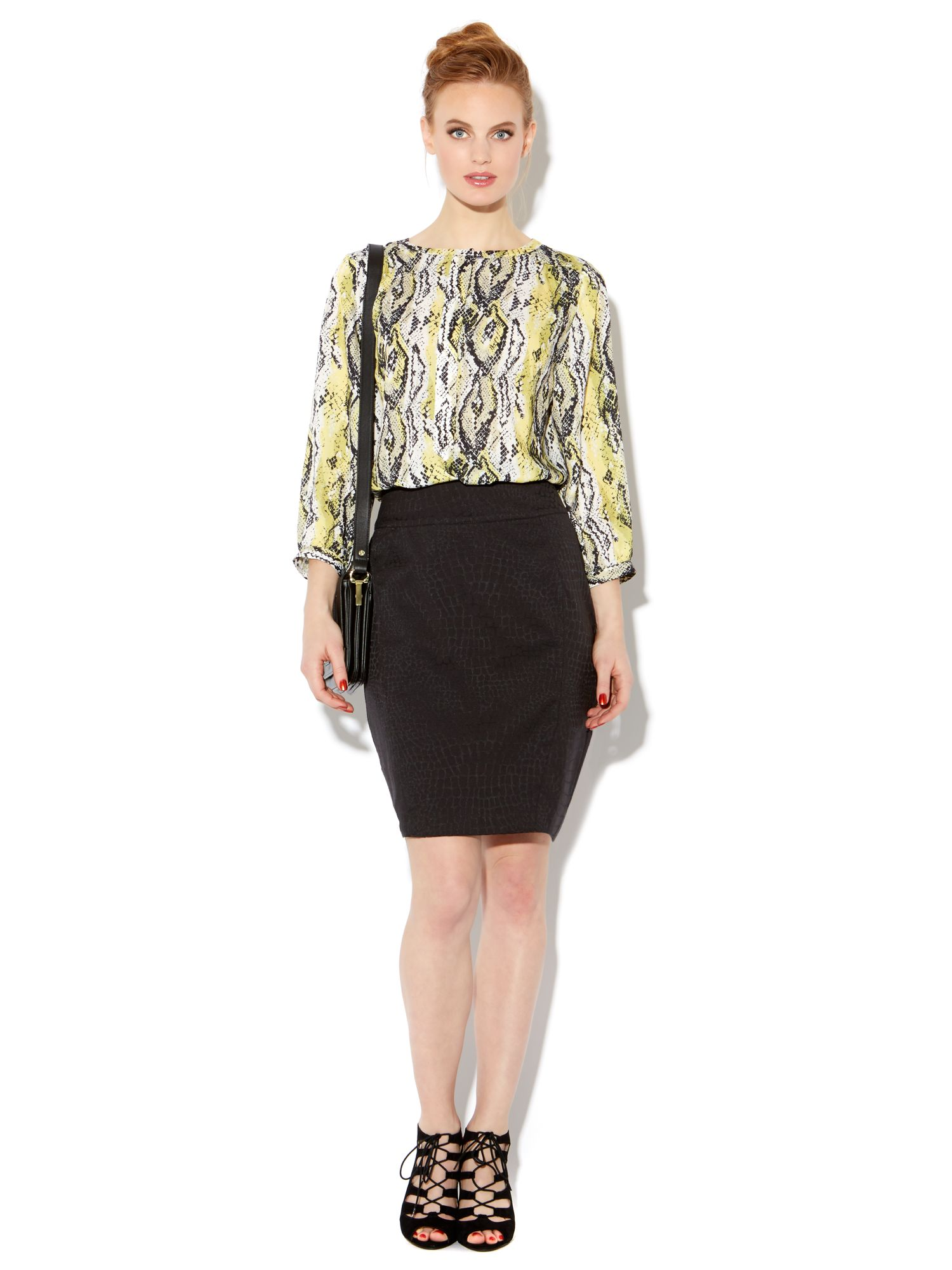 Jacquard texture pencil skirt