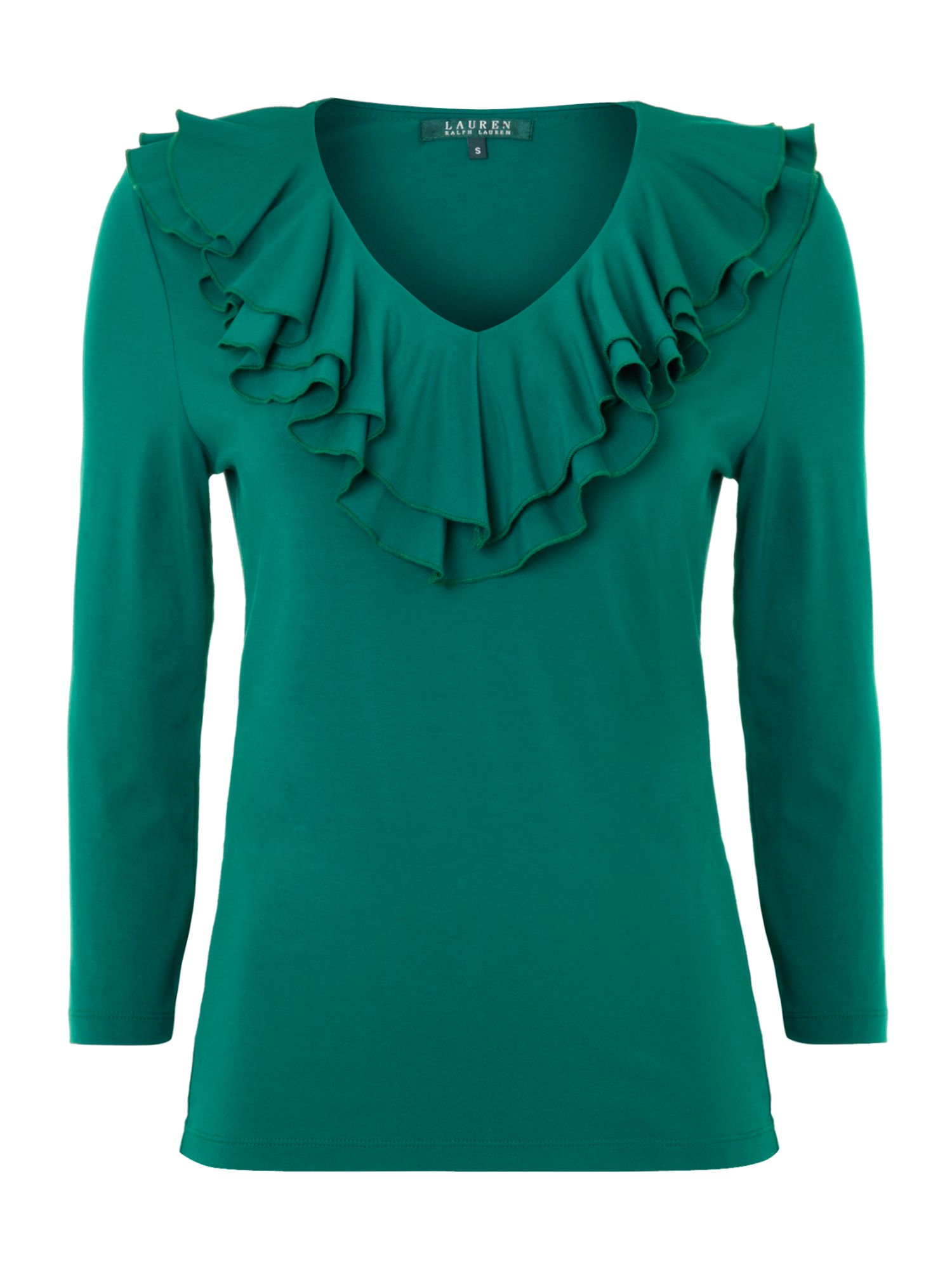 Ruffle front top with 3/4 sleeve
