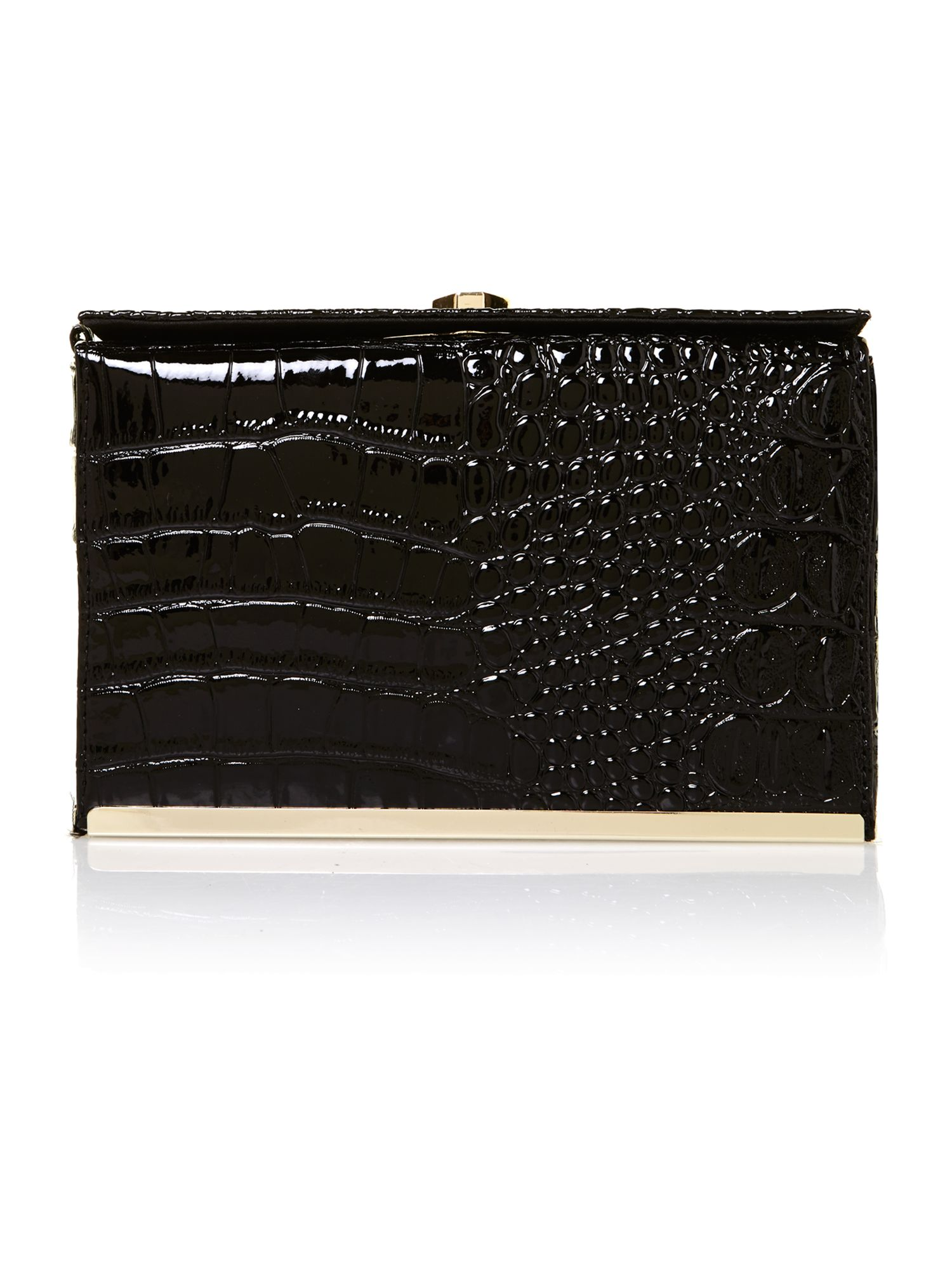 Black croc box clutch bag