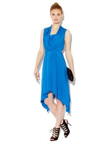 Drape cowl front dip hem dress