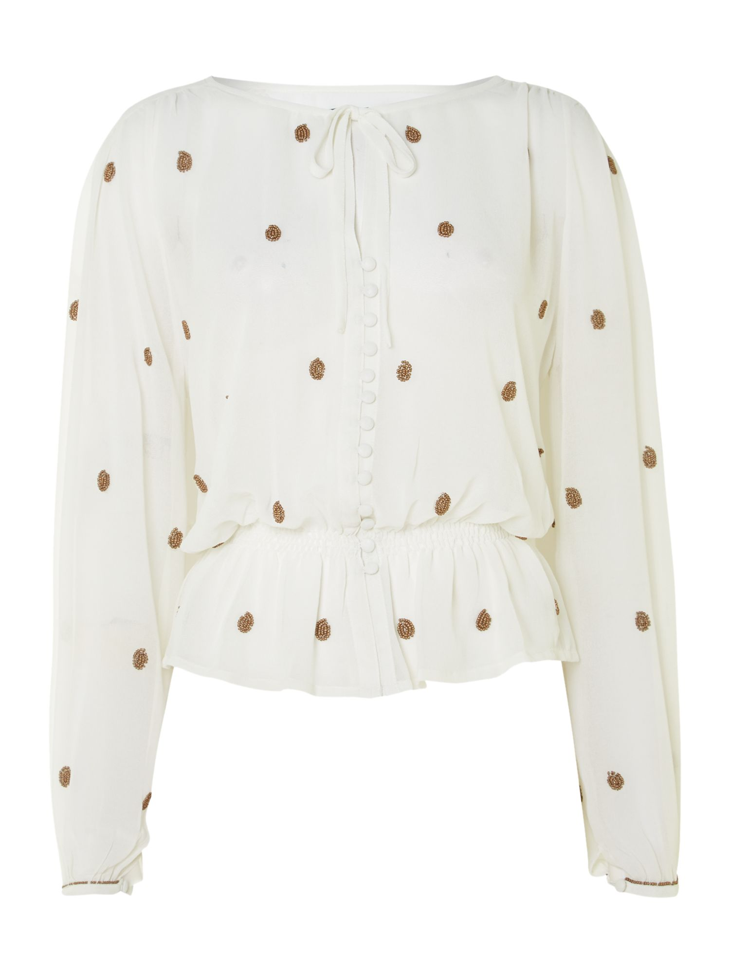 Embelished Peasant Blouse
