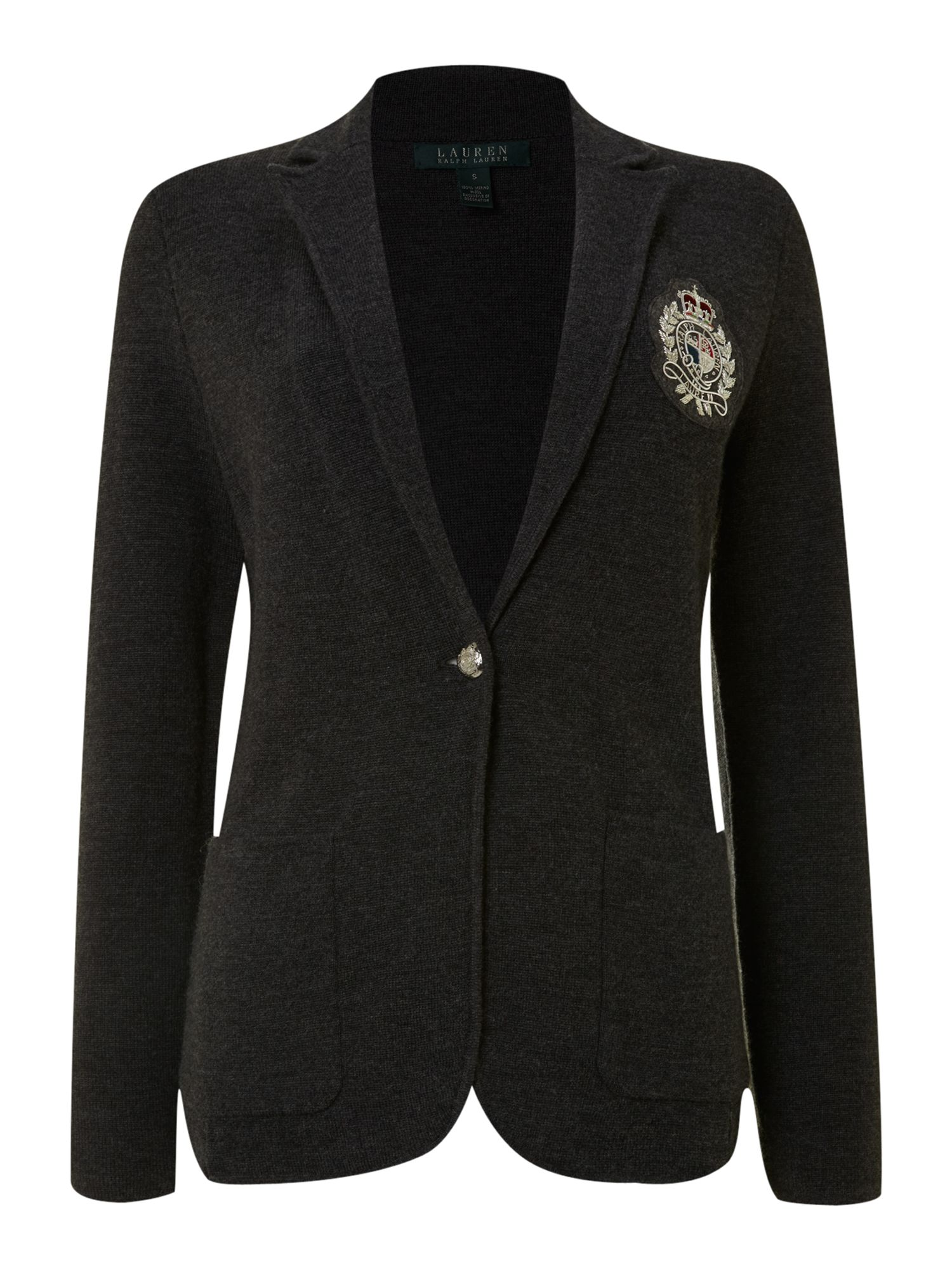 Merino wool blazer with embroidered crest