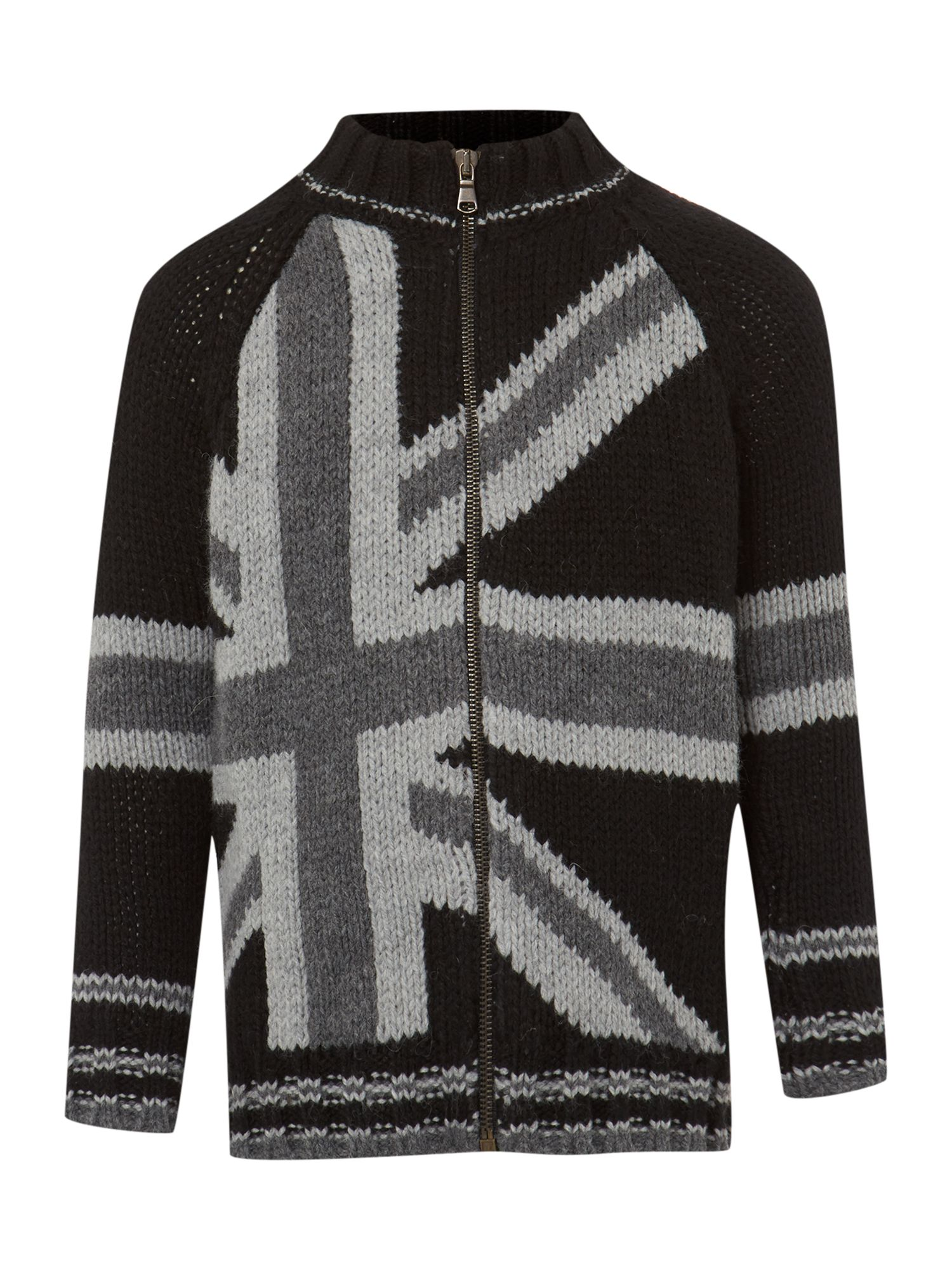 Boy`s union jack zip through cardigan