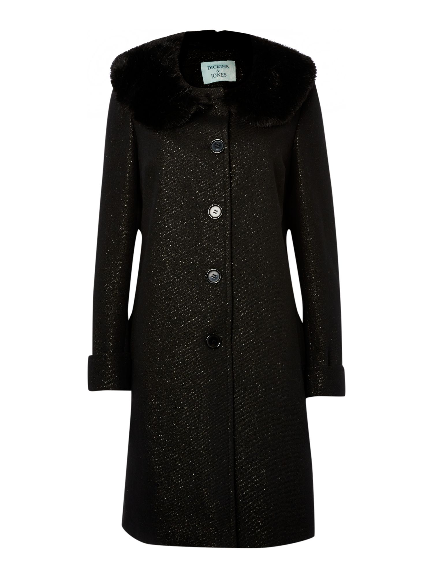 Ladies lurex coat with fur collar
