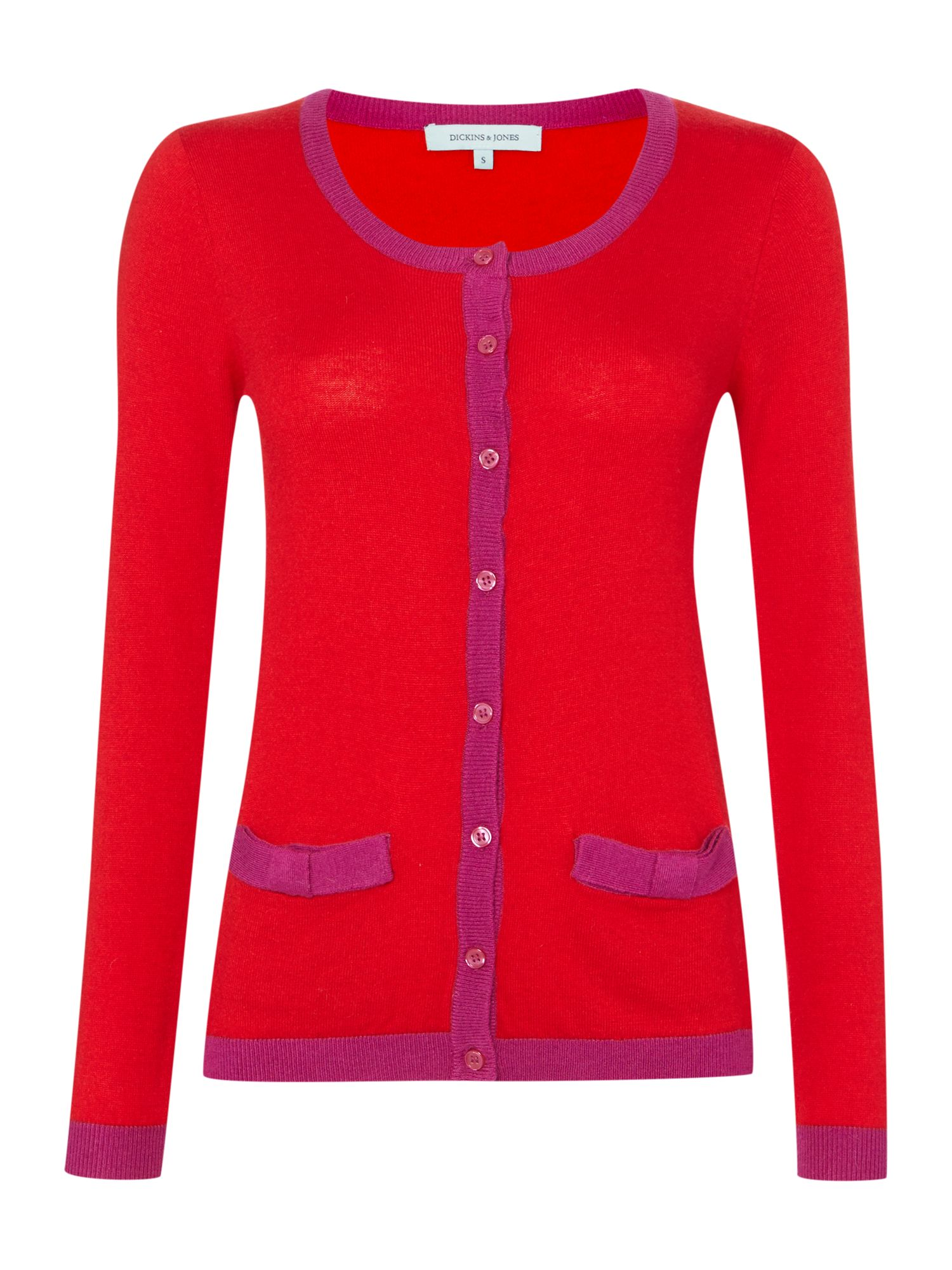 Ladies bow pocket cardigan